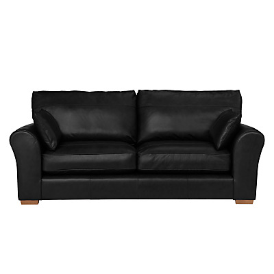 John Lewis Leon Large 3 Seater Leather Sofa, Light Leg