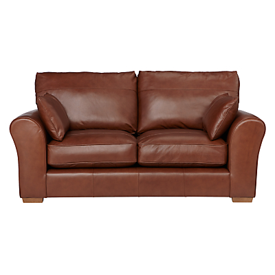 John Lewis Leon Medium 2 Seater Leather Sofa, Light Leg