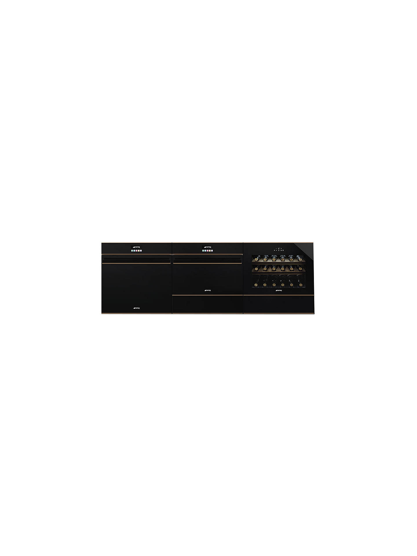 Buy Smeg SF4604MCNR Dolce Stil Novo Integrated Combination Microwave Oven, Black/Copper Online at johnlewis.com