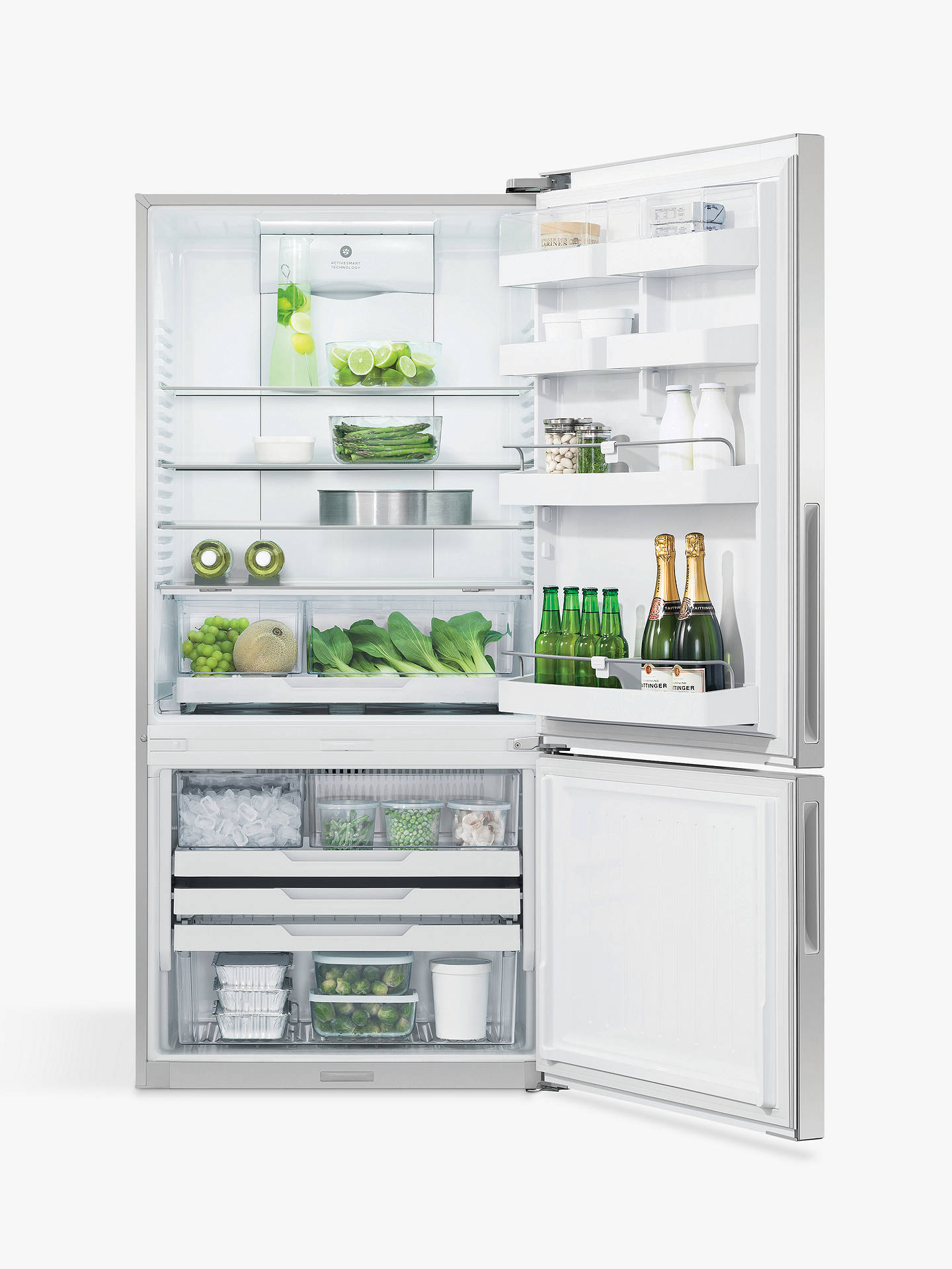 Buy Fisher & Paykel RF522BRPUX6 Fridge Freezer, A+ Energy Rating, 80cm Wide, Stainless Steel Online at johnlewis.com