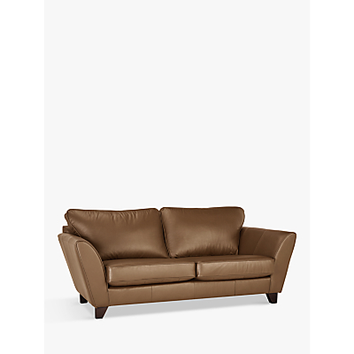 John Lewis & Partners Oslo Large 3 Seater Leather Sofa, Dark Leg
