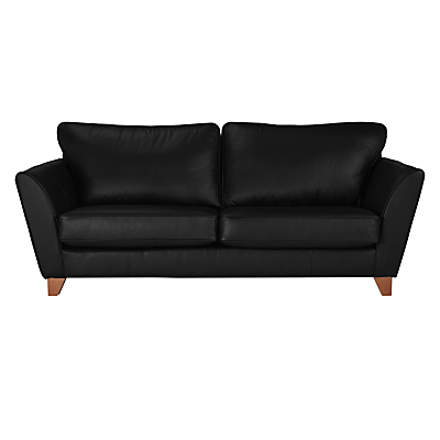 John Lewis Oslo Large 3 Seater Leather Sofa, Dark Leg