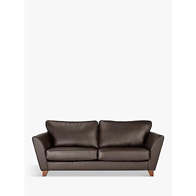 John Lewis & Partners Oslo Large 3 Seater Leather Sofa, Dark Leg