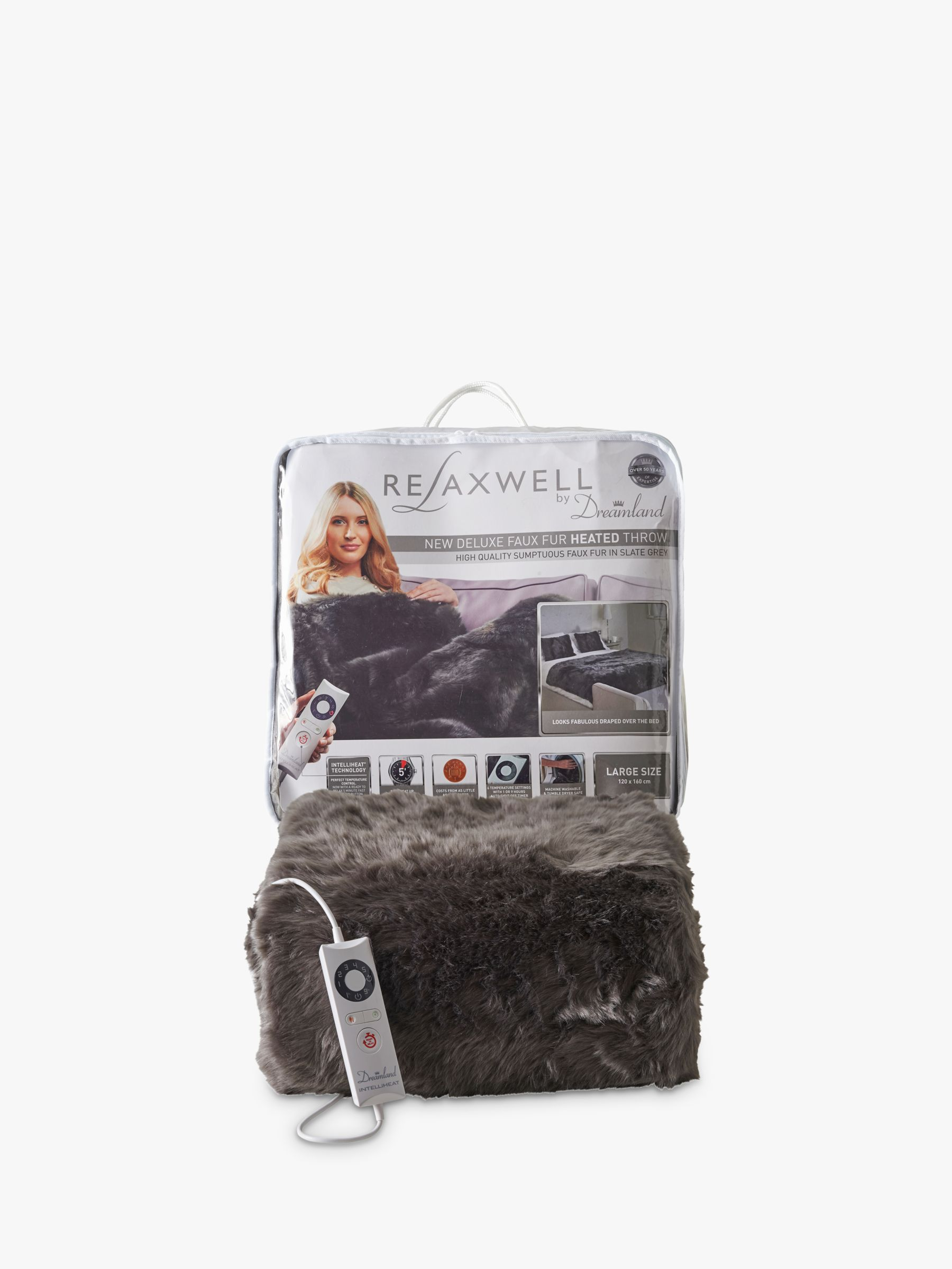 Dreamland Dreamland Relaxwell Deluxe Faux Fur Heated Throw, Grey
