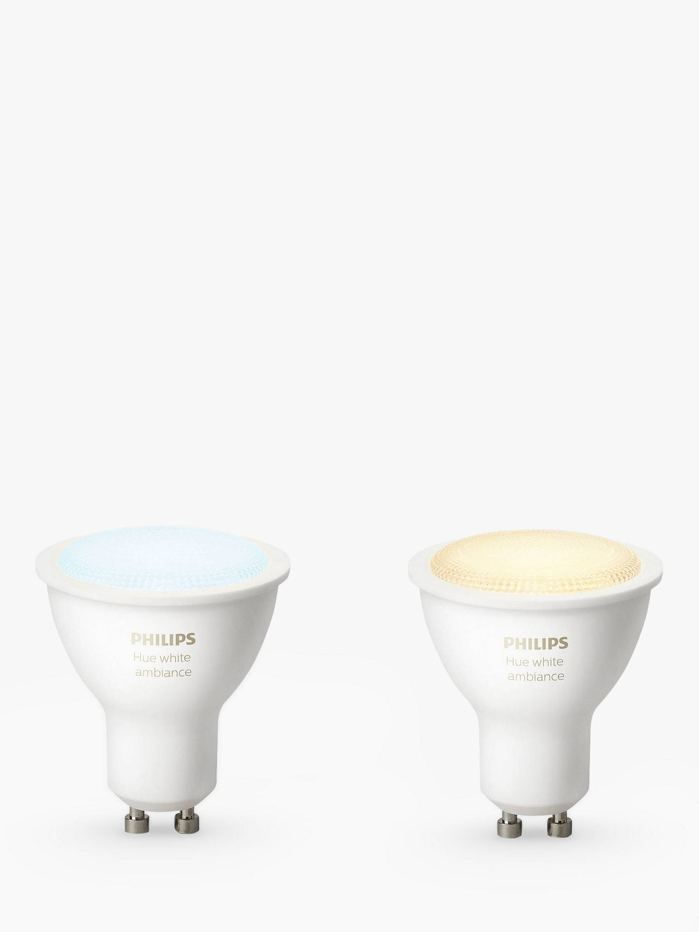 Buy Philips Hue White Ambiance Wireless Lighting LED Light Bulb, 5.5W GU10 Bulb, Pack of 2 Online at johnlewis.com