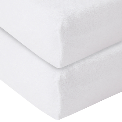 Product photo of John lewis organic cotton fitted terry cot sheet pack of 2 white