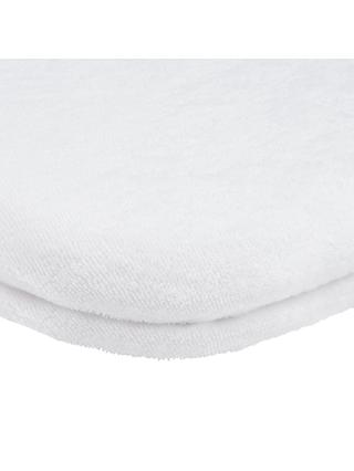 John Lewis & Partners GOTS Fitted Terry Moses Basket Sheet, 33 x 76cm, Pack of 2, White