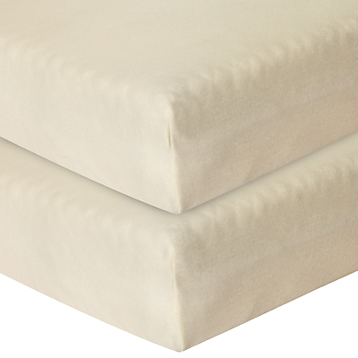Product photo of John lewis baby gots organic cotton fitted cotbed sheet pack of 2 ecru