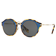 Buy Miu Miu MU 51SS Two Tone Frame Oval Sunglasses, Turquoise Havana/Grey Online at johnlewis.com