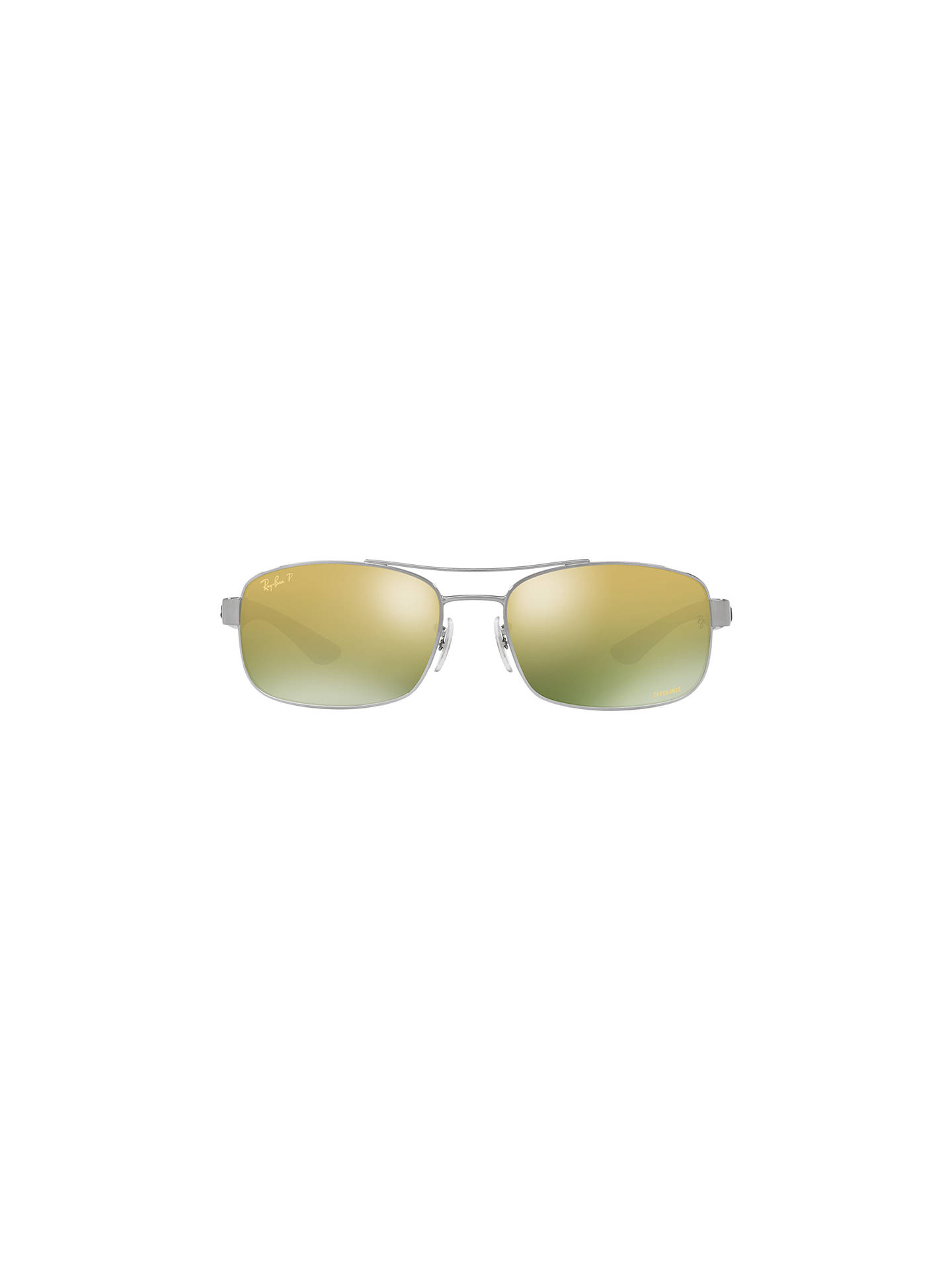 BuyRay-Ban RB8318CH Polarised Rectangular Sunglasses, Silver/Mirror Green Online at johnlewis.com