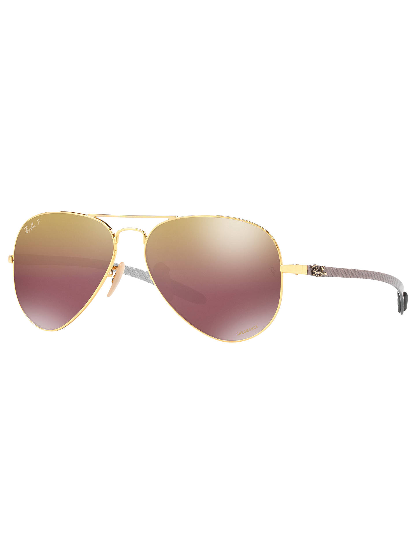 BuyRay-Ban RB8317CH Chromance Polarised Aviator Sunglasses, Gold/Mirror Purple Online at johnlewis.com