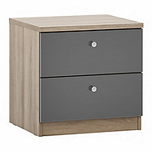 Buy House by John Lewis Mix it Cone Handle 2 Drawer Bedside Chest, Gloss House Steel/Grey Ash Online at johnlewis.com