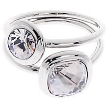 Buy Karen Millen Milano Swarovski Crystal Double Ring, Silver Online at johnlewis.com