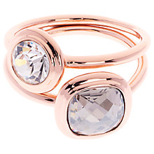 Buy Karen Millen Milano Swarovski Crystal Double Ring, Rose Gold Online at johnlewis.com