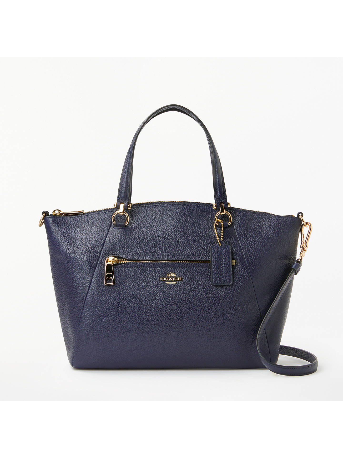 Coach Prairie Pebble Leather Satchel Bag, Navy by Coach