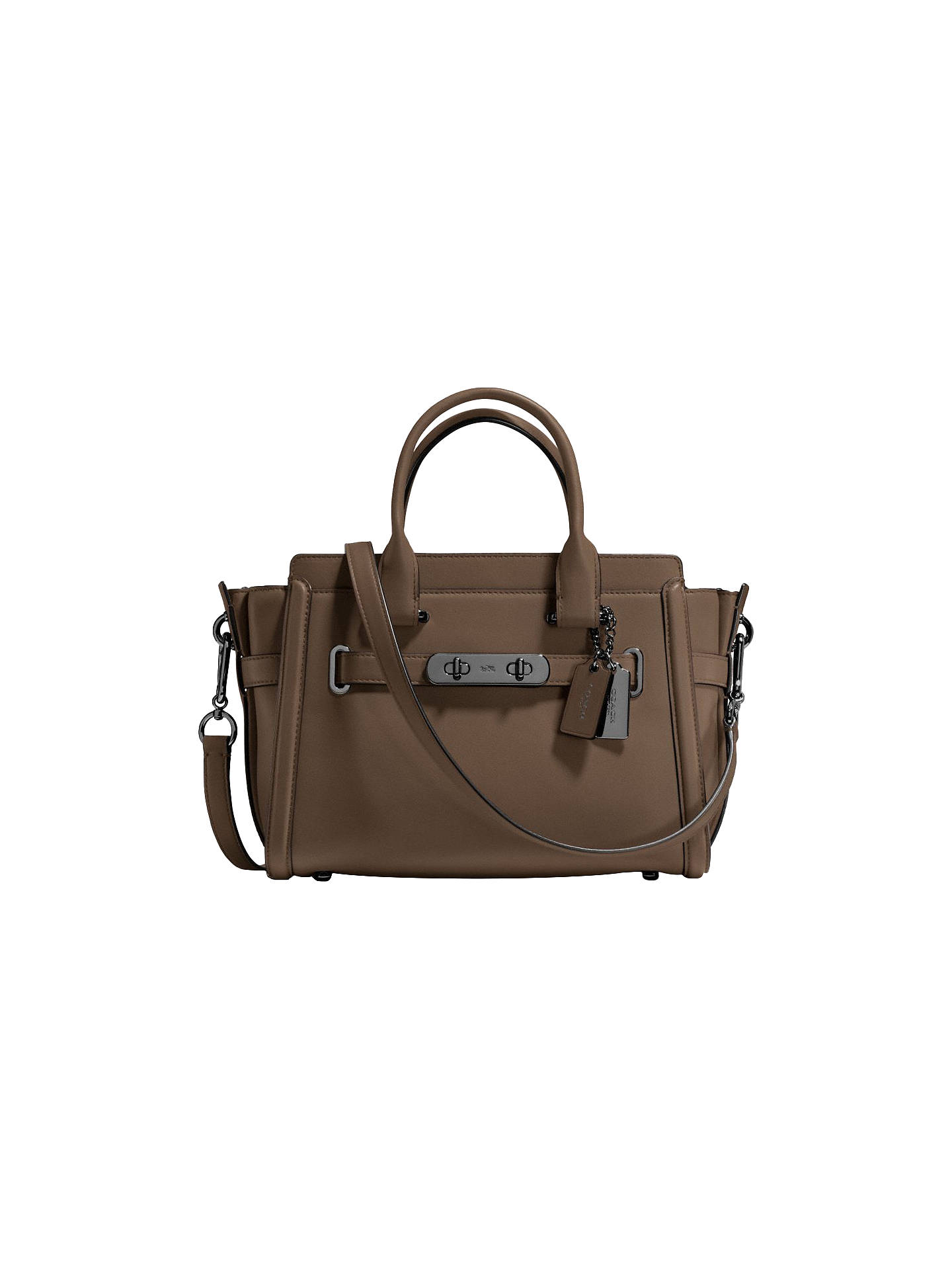Coach Swagger 27 Glovetanned Leather Across Body Bag, Grey at John