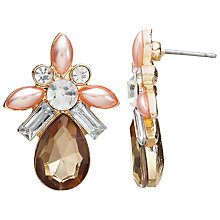 Buy John Lewis Faux Pearl and Glass Crystal Drop Earrings, Pink/Multi Online at johnlewis.com