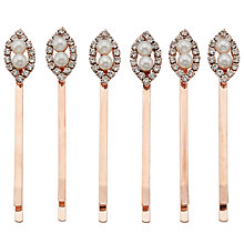 Buy John Lewis Double Faux Pearl and Cubic Zirconia Pins, Pack of 6, Rose Gold Online at johnlewis.com