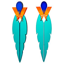 Buy Toolally The Kingfisher Drop Earrings, Teal/Orange Online at johnlewis.com