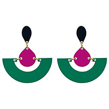Buy Toolally Fan Colour Block Drop Earrings, Emerald/Plum Online at johnlewis.com