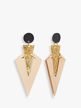 Toolally Mini Art Deco Drop Earrings, Nude/Gold Glitter