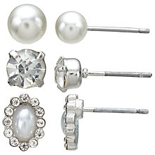 Buy John Lewis Faux Pearl and Cubic Zirconia Stud Earrings, Pack of 3, Silver/White Online at johnlewis.com