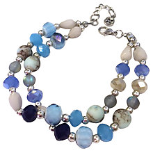 Buy One Button Double Row Beaded Bracelet, Blue Mix Online at johnlewis.com