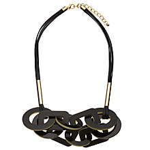Buy John Lewis Circle and Rectangle Layered Necklace, Black/White Online at johnlewis.com