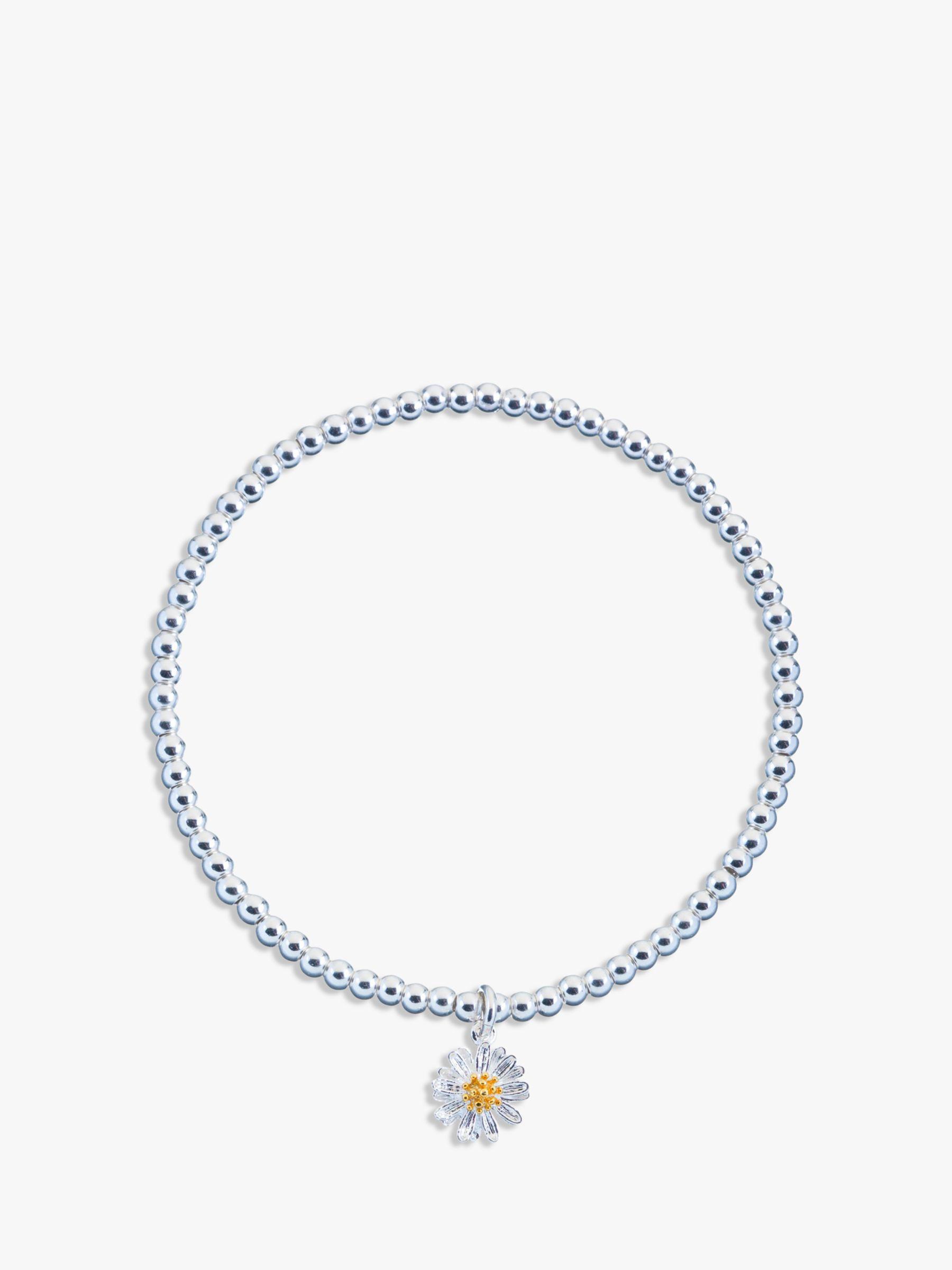 Estella Bartlett Estella Bartlett Sienna Flower Charm Stretch Bracelet, Silver