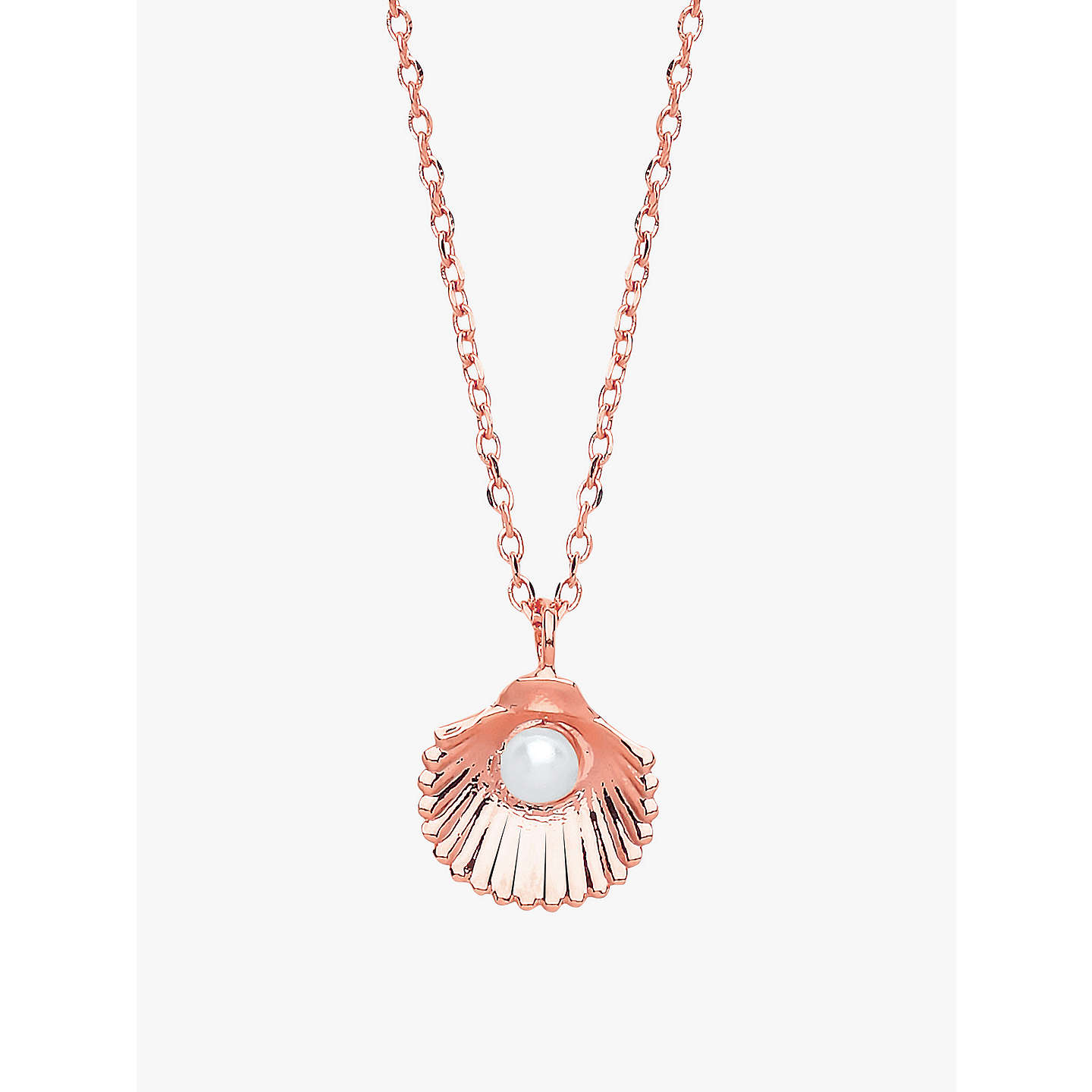 Estella bartlett shell freshwater pearl pendant necklace rose gold buyestella bartlett shell freshwater pearl pendant necklace rose gold online at johnlewis mozeypictures Gallery