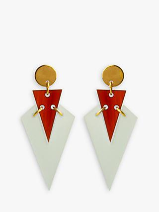 Toolally Mini Art Deco Drop Earrings, Mint/Amber
