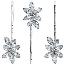 Buy John Lewis Leaf Cubic Zirconia Hair Grips, Pack of 3, Silver Online at johnlewis.com