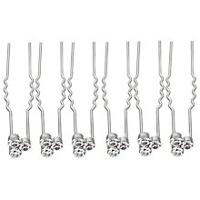 Buy John Lewis Cluster Cubic Zirconia Hair Pins, Pack of 6, Silver Online at johnlewis.com