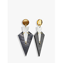 Buy Toolally Mini Art Deco Drop Earrings, White/Marble Charcoal Online at johnlewis.com