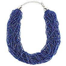 Buy John Lewis Seed Bead Statement Layered Necklace, Electric Blue Online at johnlewis.com