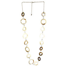Buy One Button Mother of Pearl Circles Long Row Necklace, Coffee/Natural Online at johnlewis.com
