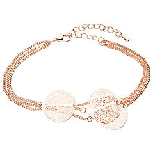 Buy John Lewis Leaf Layered Chain Bracelet, Rose Gold Online at johnlewis.com