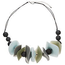 Buy John Lewis Asymmetric Resin Bead Statement Necklace, Turquoise/Grey Online at johnlewis.com