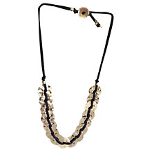 Buy One Button Large Dent Disc Suede Strand Necklace, Grey/Silver Online at johnlewis.com