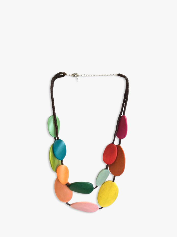 One Button One Button Wood Discs Layered Necklace, Multi