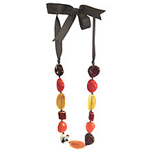 Buy One Button Mixed Bead Tie Necklace, Burnt Orange/Multi Online at johnlewis.com