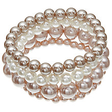 Buy John Lewis Multi Row Faux Pearl Bracelet, Pink/Cream Online at johnlewis.com