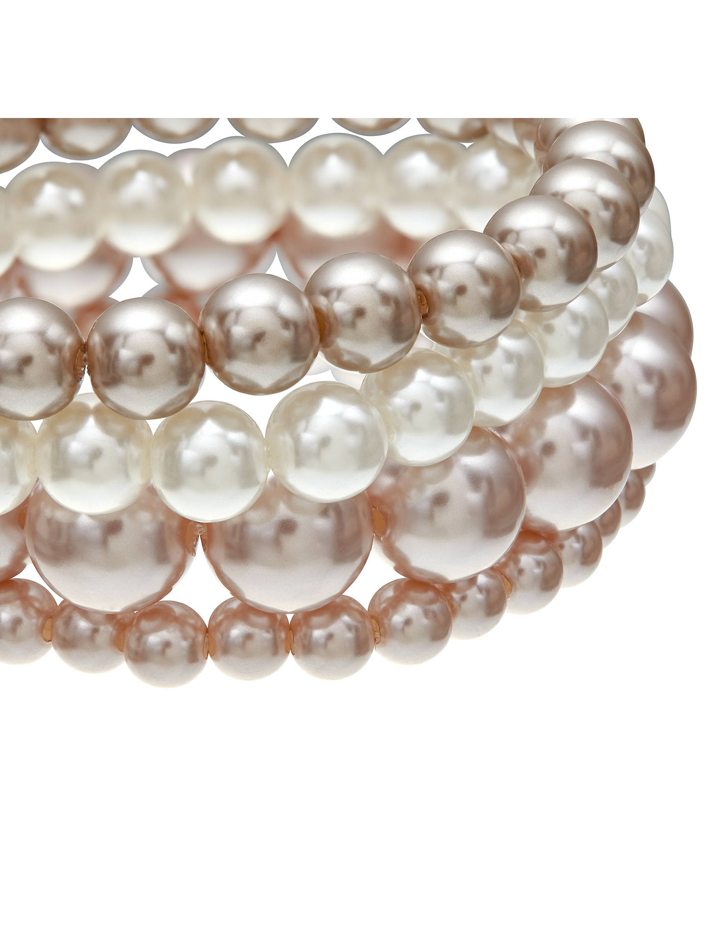 BuyJohn Lewis Multi Row Faux Pearl Bracelet, Pink/Cream Online at johnlewis.com