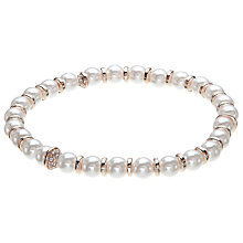 Buy John Lewis Faux Pearl Stretch Bracelet, Rose Gold/White Online at johnlewis.com