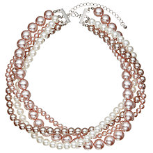 Buy John Lewis Multi Row Faux Pearl Layered Necklace, Pink/Cream Online at johnlewis.com
