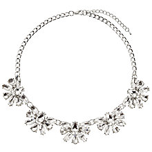 Buy John Lewis Floral Crystal Statement Necklace, Silver Online at johnlewis.com