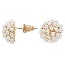 Buy John Lewis Faux Pearl Cluster Stud Earrings, Gold/White Online at johnlewis.com