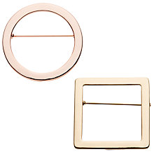 Buy John Lewis Geometric Shape Brooches, Pack of 2, Multi Online at johnlewis.com
