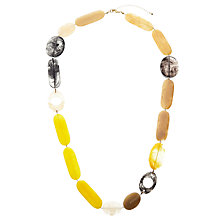 Buy John Lewis Long Beaded Necklace, Yellow/Grey Online at johnlewis.com
