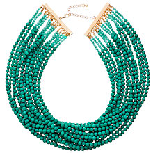Buy John Lewis Beaded Multi Row Necklace, Turquoise Online at johnlewis.com